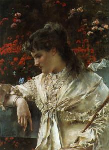 """Alfred Stevens (1823-1906) - """"Reverie"""" - 22.13"""" x 16.26"""" - Oil  (1878)"""