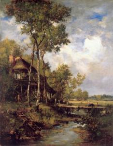 "Narcisse Virgile Diaz de la Pena (1808-1876) - ""The Old Windmill Near Barbizon"" - 39.37"" x 30.91"" - Oil"
