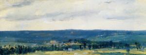 "Theodore Rousseau (1812-1867) - ""The Seine Valley Near Rouen"" - 3.86"" x 9.13"" - Oil"