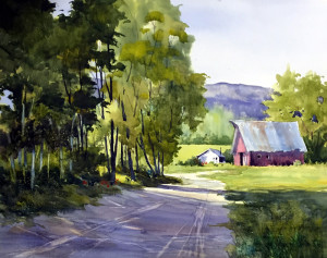 "Tina Bohlman - ""Spring in the Valley"" - 16"" x 20"" - w/c"