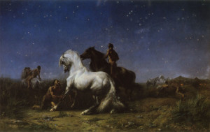 """Eugene Fromentin (1820-1876) - """"Night Robbers"""" - 51.89"""" x 80.24"""" - Oil  (1865)"""