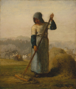 "Jean Francois Millet (1814-1875) - ""Woman with a Rake"" - 15.62"" x 13.5"" - Oil  (1857)"