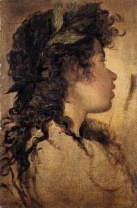 """Diego Rodriguez de Silva Velazquez (1599-1660) - """"Study for the Head of Apollo"""" - 14.29"""" x 9.92"""" - Oil  (1630)"""