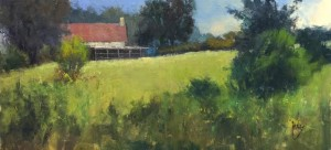 """Rusty Jones - """"House on the Point"""" - 10"""" x 20"""" - Oil  (1st Place, Plein Air - OPA National 2016)"""