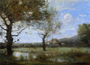 "Camille Corot - ""Meadow With Two Large Trees"" - Dimensions unknown - Oil  (1865)"