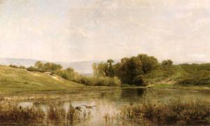 """Charles-Francois Daubigny (1817-1878) - L'Dtang De Gijlieu"""" - 25"""" x 39.5"""" - Oil"""