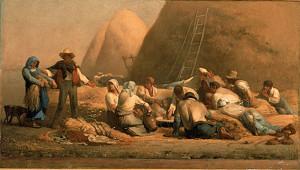 """Jean Francois Millet (1814-1875) - """"Harvesters Resting"""" - 26.5"""" x 47.12"""" - Oil  (1850-53)"""