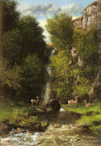 "Gustave Courbet (1819-1877) - ""A Family of Deer in a Landscape With a Waterfall"" - 32.09"" x 23.62"" - Oil"