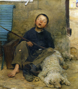 "Jules Bastien-Lepage (1848-1884) - ""The Small Begger Asleep"" - 40.55"" x 42.91"" - Oil  (1882)"