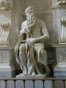 """Michelangelo (1475-1564) - """"Moses"""" - Marble  (1545)"""