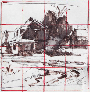 "Composition and value sketch with grid for enlargement. 3.75"" x 3.75"" - Felt marker"