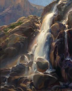 """Bright Morning, Timberline Falls"" - 18"" x 24"" - Oil"