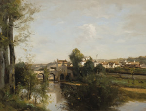 """(COPY) Camille Corot - """"Seine and Old Bridge at Limay"""" - 17.68"""" x 23.38"""" - Oil"""