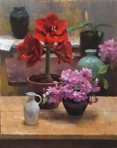 """""""Red Amaryllis and Cherry Blossoms"""" - 20"""" x 16"""" - Oil"""