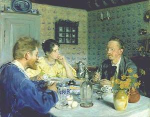 """Peder Severin Kroyer (1851-1909) - """"Almuerzo con Otto Benson"""" - Oil (1893)"""