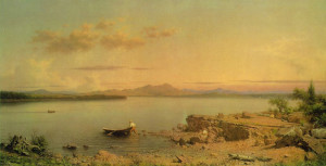 "Martin Johnson Heade (1819-1904) - ""Lake George"" - 10.24"" x 19.59"" - Oil   (1862)"