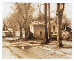"""Monochromatic study - 4.5"""" x 5.68"""" - Oil on paper. Composition, drawing, and values were determined in this raw umber (no white) study."""