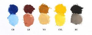 Cobalt Blue, Light Red, Yellow Ochre, Cadmium Yellow Light, Raw Umber, Titanium White