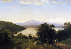 """Camels Hump from the Western Shore of Lake Champlain"" - 31"" x 42"" - Oil - (1852)"