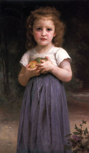 "William Adolphe Bouguereau - ""Little Girl Holding Apples"" - 36.81"" x 21.65"" - Oil  (1895)"