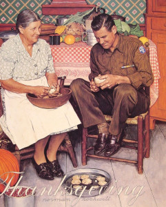 "Norman Rockwell - ""Thanksgiving, Mother and Son Peeling Potatoes"" - 35"" x 33.46"" - Oil  (1945)"