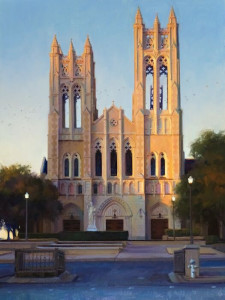 """Last Light on First Methodist"" - 24"" x 18"" - Oil"