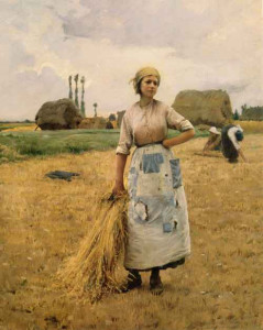 "Charles Sprague :Pearce (1851-1914) - ""Gleaner's Rest"" - 30"" x 24"" - Oil  (1885-90)"