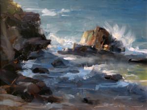 "Dave Santillanes - ""Last Light at Kapalua Bay"" - 9"" x 12"" - Oil"