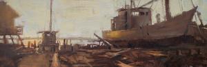 """Suzie Baker - """"Easton Log Built Boat"""" - 10"""" x 30"""" - Oil"""