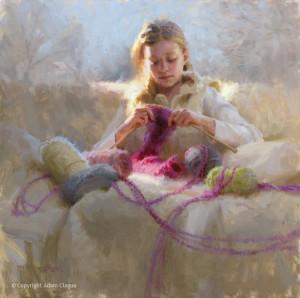 """Adam Clague - """"Knitter's Gift"""" - 24"""" x 24"""" - Oil"""