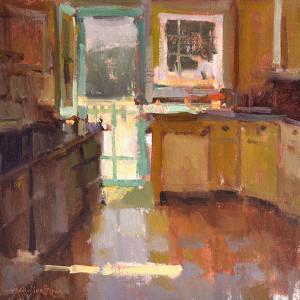 """Anne Blair Brown - """"Cottage Kitchen"""" - 16"""" x 16"""" - Oil"""