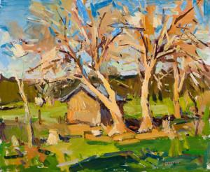 """Eric Jacobsen - """"Sunlit Trees"""" - 18"""" x 22"""" - Oil"""