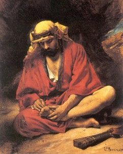 """Leon Bonnat  (1833-1922) - """"An Arab Removing a Thorn From His Foot"""" - Oil"""