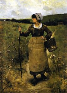 """""""Across the Fields"""" - 44"""" x 32"""" - Oil  (1884)"""