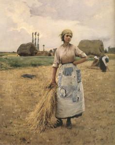 """""""Gleaner's Rest"""" - 30"""" x 24"""" - Oil  (1885-90)"""