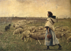 """The Sheepfold"" - 89"" x 128"" - Oil  (1893)"