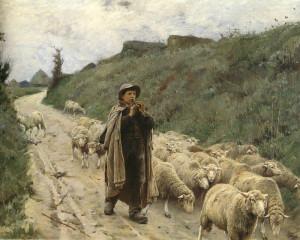 """The Return of the Flock"" - 48"" x 63"" - Oil  (1888)"