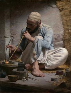 """Arab Jeweler"" - 46"" x 35"" - Oil  (1882)"