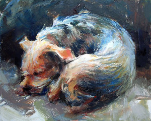 "Ted Clemens - ""Let Sleeping Dog Lie"" - 8"" x 10"" - Oil"