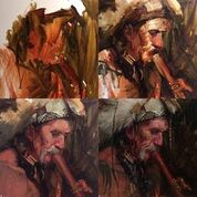"""Wood Flute"" - 12"" x 12"" - Oil   (Progression shots)"
