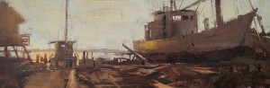 """Log Built Boat"" - 10"" x 30"" - Oil  (7th Annual Plein Air Salon, Aug/Sep 2017, Third Place; 2017-18 Gateway International Painting Competition - Finalist)"