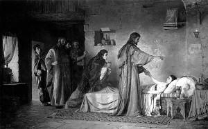 The resurrection of Jairus's daughter.