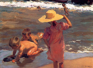 "Joaquin Sorolla y Bastida - ""Children on the Seashore"" - 37.75"" x 50.75"" - Oil  (Sorolla was a master of reflected light)"