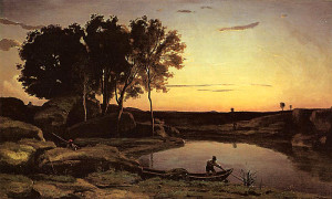 "Jean-Baptiste-Camille Corot - ""Evening Landscape"" - Oil"