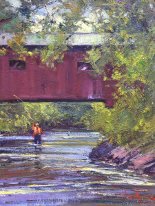 """Eagleville Bridge Fly Fishing"" - 36"" x 30"" - Oil"