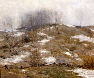 """Bruce Crane - """"Lingering Winter"""" - 30"""" x 36"""" - Oil  (1925)"""