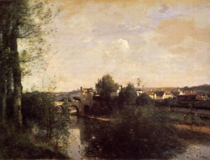 """Jean Baptiste-Camille Corot - """"Old Bridge at Limay, on the Seine"""" - Oil  (1870)"""