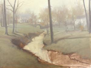 The painting was first developed monochromatically using Raw Umber; you can see remnants of the block-in throughout the foreground.