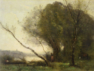 "Jean-Baptiste-Camille Corot - ""The Bent Tree"" - 17.5"" x 23"" - Oil  (1855)"