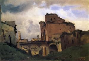 "Jean-Baptiste-Camille Corot - ""Basilica of Constantine"" - 9.25"" x 13>25"" - Oil  (1826-28)"